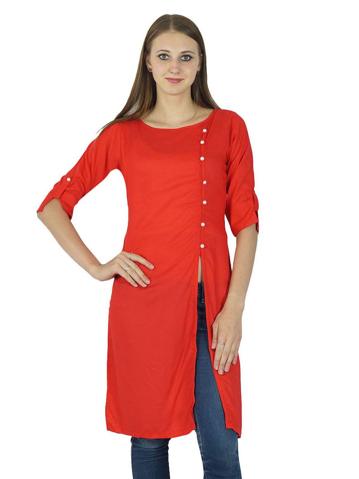 Asymmetric kurta indian designer solid print women ethnic kurti top