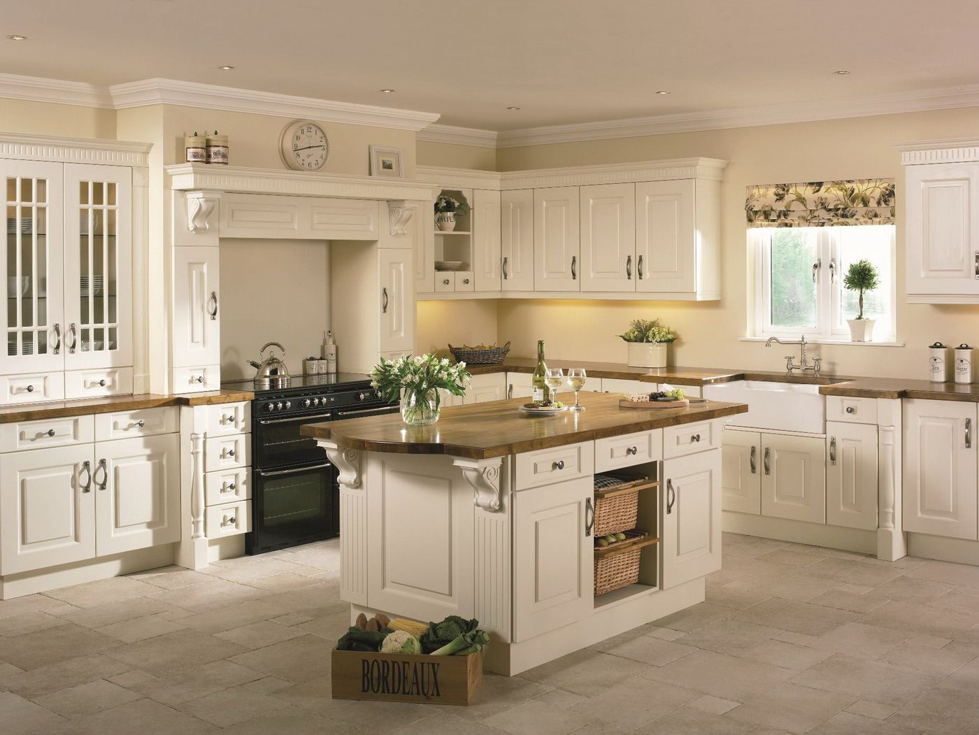 Beautiful Kitchen Cream Cupboards With Wooden Work Top Country Kitchen Cabinets Cream Painted Kitchen Cabinets Classic Kitchens