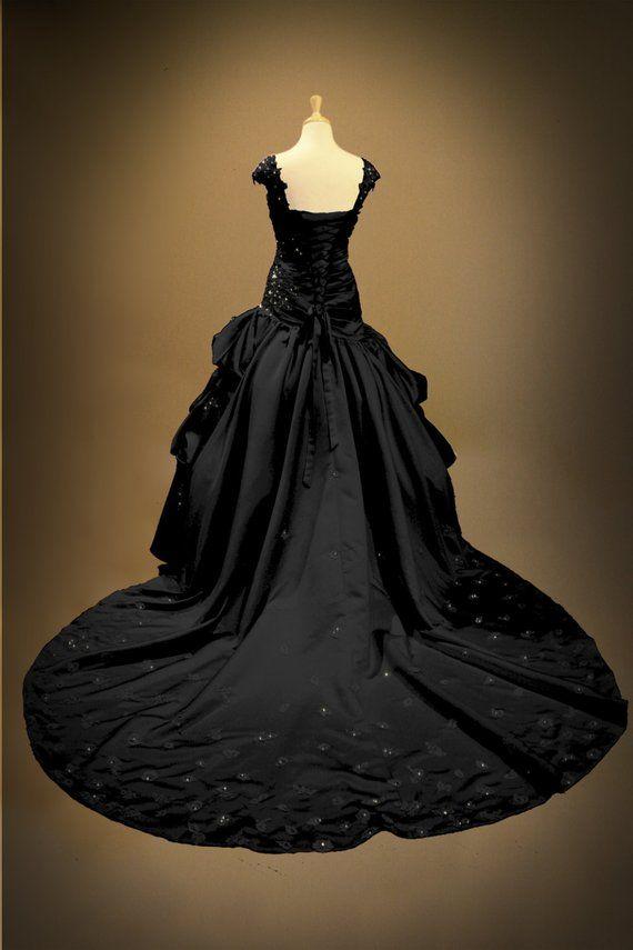 811c59eb7f Black Gothic Wedding Dress Ball Gown