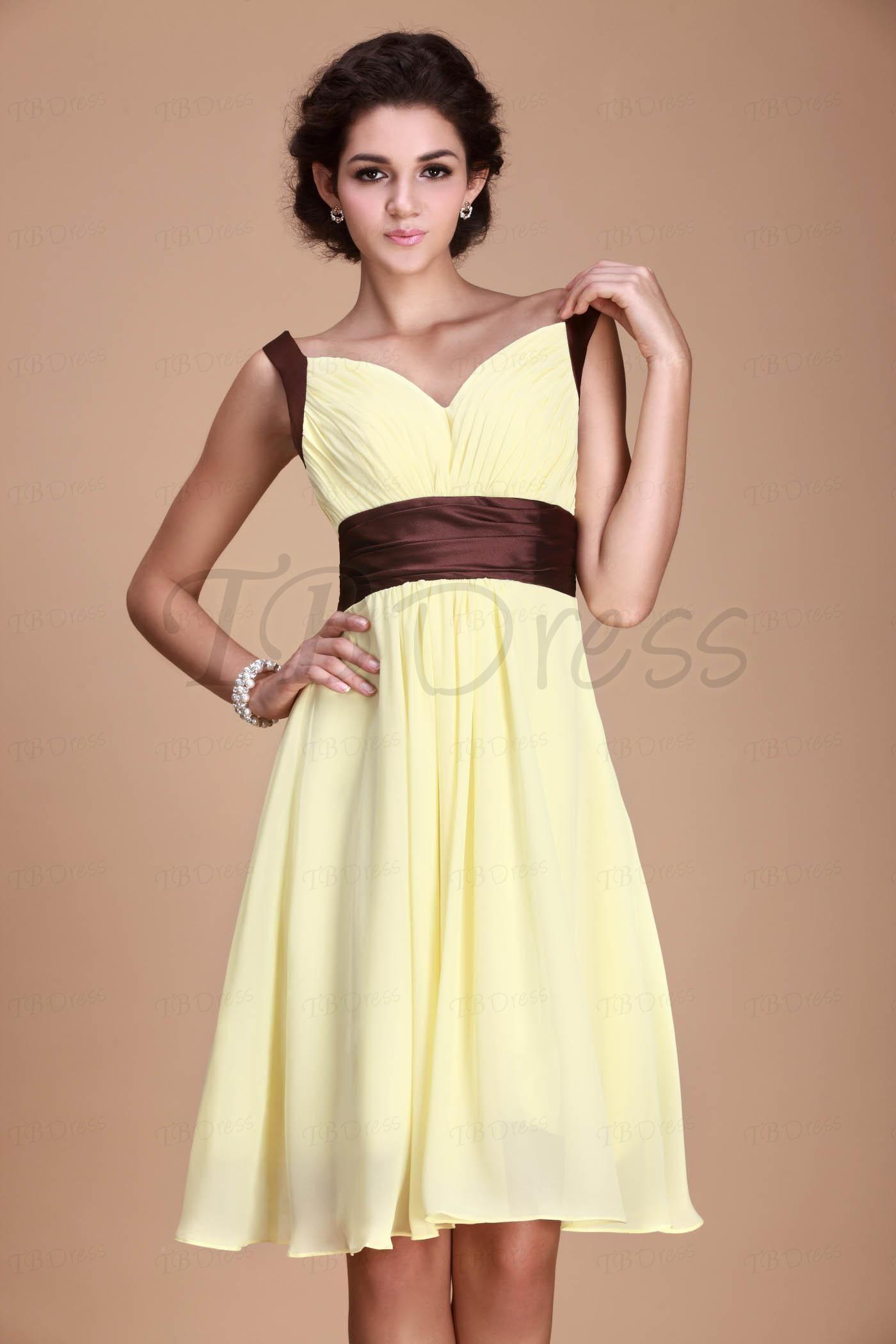 7c40b014d16b Fashionable Pleats Empire Waist V-Neck Knee-Length Roxy's Bridesmaid Dress