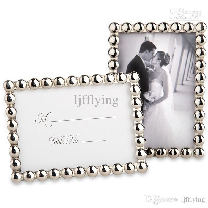 Silver Pearls Mini Photo Frame Place Card Holders Wedding Favor ...