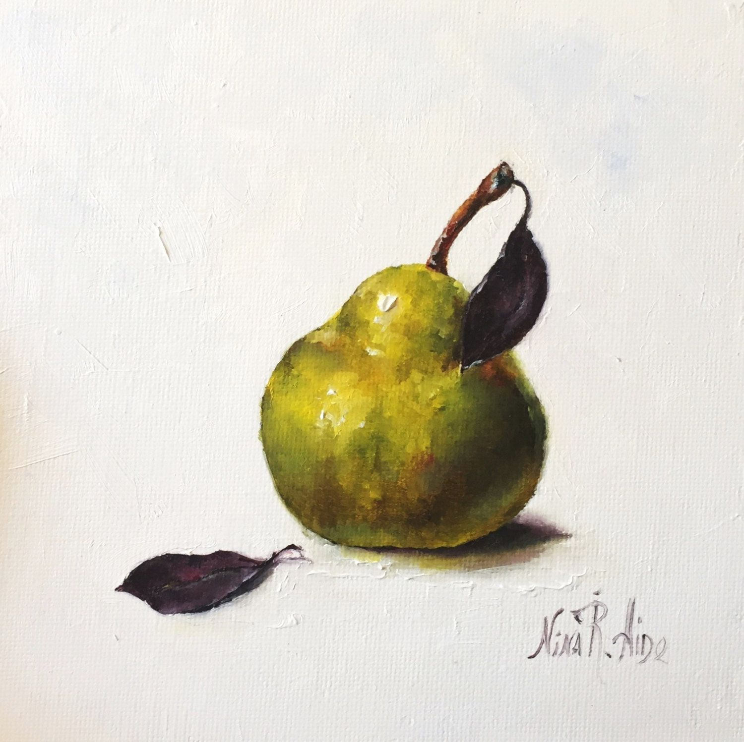 Pear Original Oil Painting Green Pear Still Life Kitchen Art Small Painting  Fruit Daily Painting Canvas By NinaRAideStudio On Etsy Painting Life