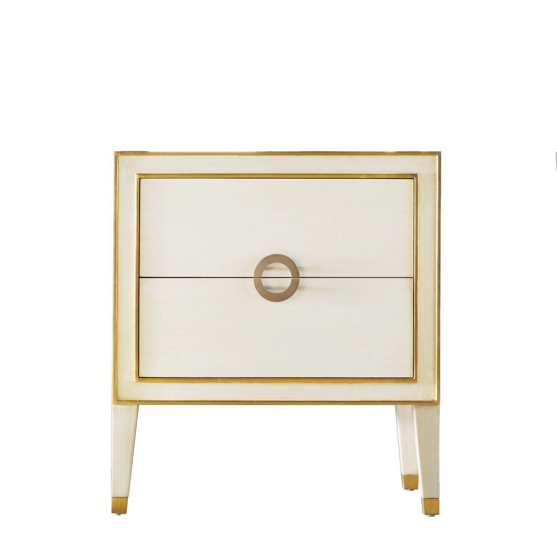 Retro Nightstand Antique White Gold Classic Furniture Design
