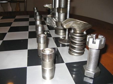 Steel Chess Set chess set from used car parts | chess is just a rhyme without a