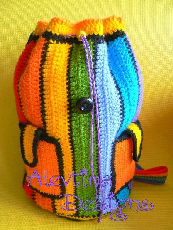 Gehäkelte Regenbogen Rucksack von AlevtinaDesigns auf Etsy