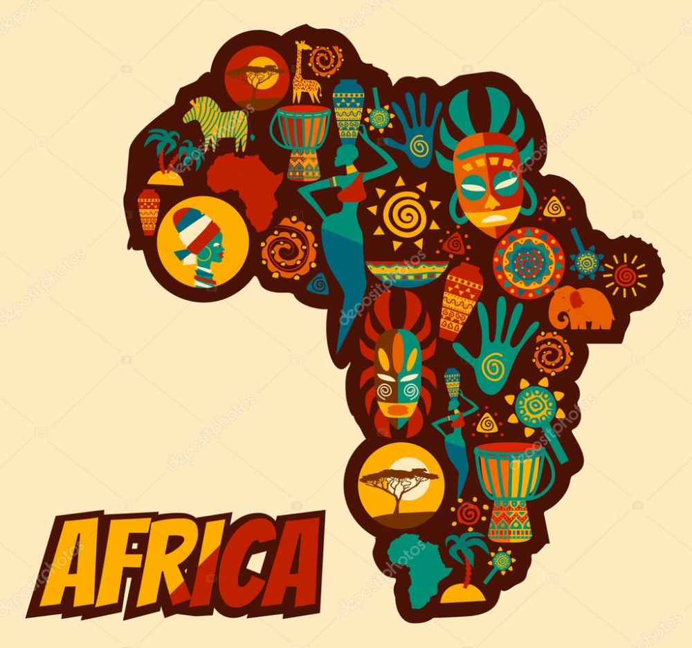 African and Safari elements and icons — Stock Illustration