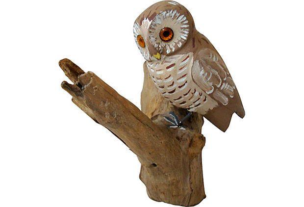 Folk Art Carved Owl on OneKingsLane.com