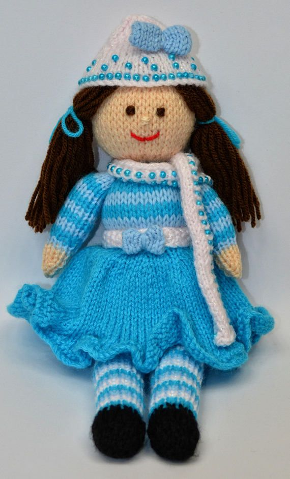 Doll Knitting Pattern Winter Doll Knit Doll Toy Knitting