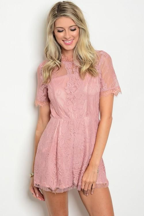 Perfect For Summer Sorority Recruitment Wedding Guest And Everyday Shop Our Blush Pink Lace Romper Lace Romper Rush Outfits Recruitment Dresses