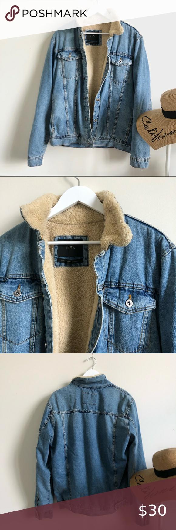 Zara Denim Sherpa Lined Jean Jacket Lined Jeans Sherpa Lined Jean Jacket [ 1740 x 580 Pixel ]