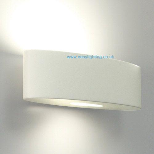 Ovaro White Plaster Wall Uplighter
