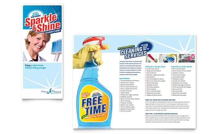 House Cleaning And Housekeeping Brochure Design Template By
