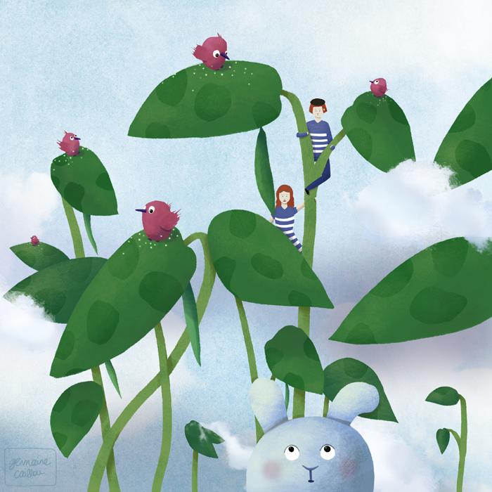 Jack and the beanstalk /// Jack et le haricot magique - Germaine Caillou #illustration