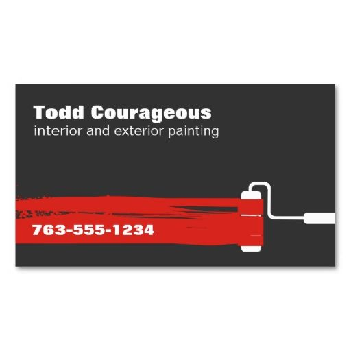 Custom Color Paint Roller Handyman Painting Business Card Color - Painter business card template