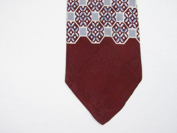 1940s Tie Wide Vintage Brocade Neck Tie in Red & Blue