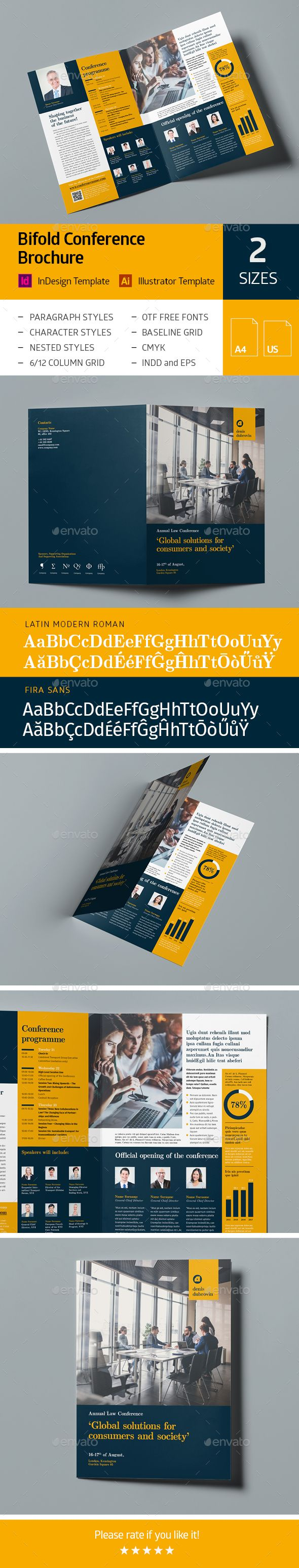 bifold conference brochure template vector eps indesign indd ai