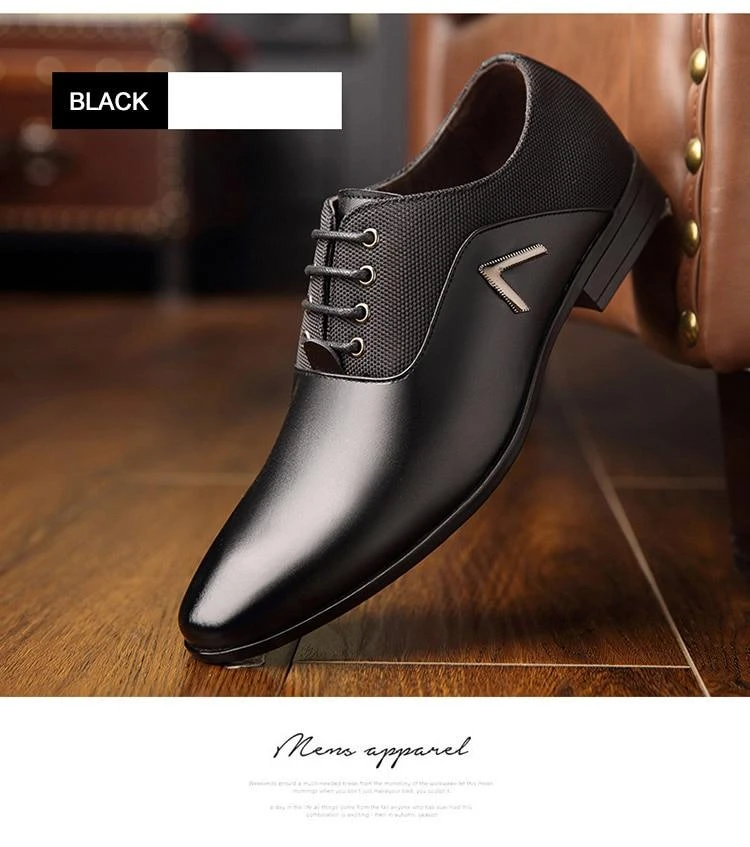 Pointed Toe Mens Lace Up Splicing Leisure Business Stylish Retro Dress Shoes Hot