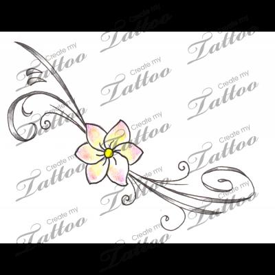 Marketplace Tattoo Freesia Flower & Swirls Tattoo #2424 | CreateMyTattoo.com