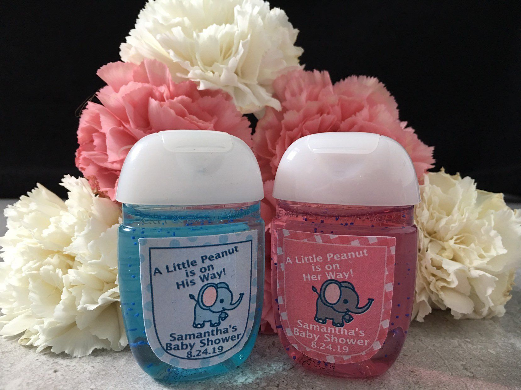 Elephant Hand Sanitizer Favor Labels Little Peanut Baby Shower