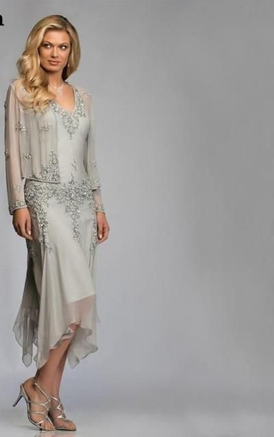Silver Chiffon Mother of the Bride Groom Dresses with Jacket 2019 for Summer Wedding Party Gowns Tea Length Chiffon Godmother #groomdress
