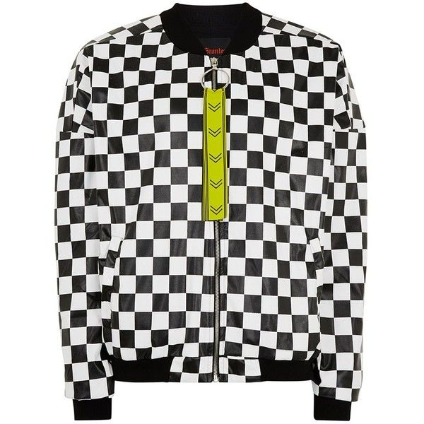 33b96fb13 TOPMAN Granted Black and White Check Bomber Jacket ($100) ❤ liked ...