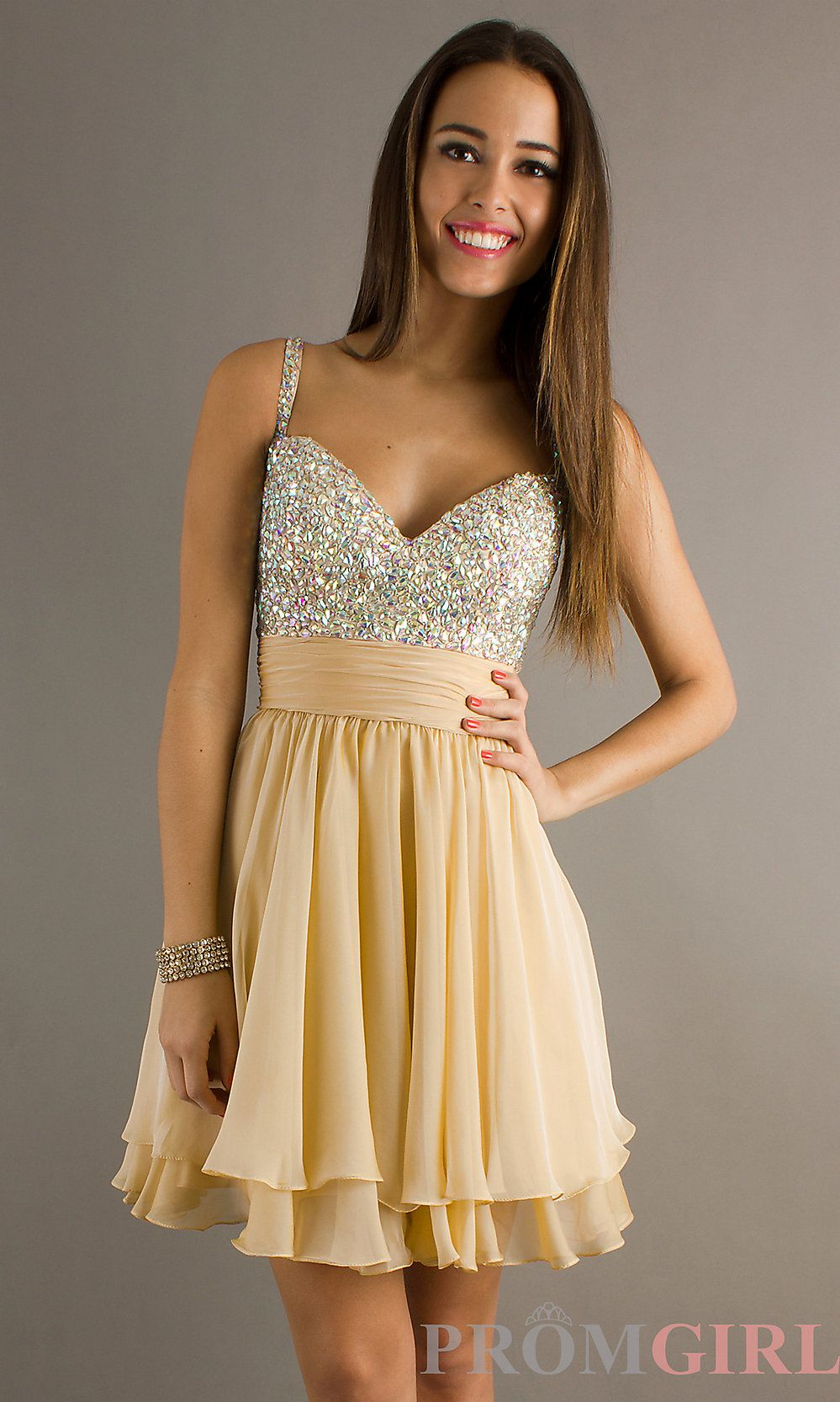 Champagne Dresses Spaghetti Strap Beaded Prom Dress Short Beaded