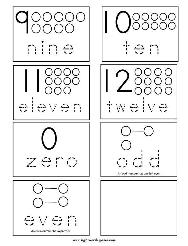 Number-Flashcards-2 | kids crafts | Pinterest | Kind