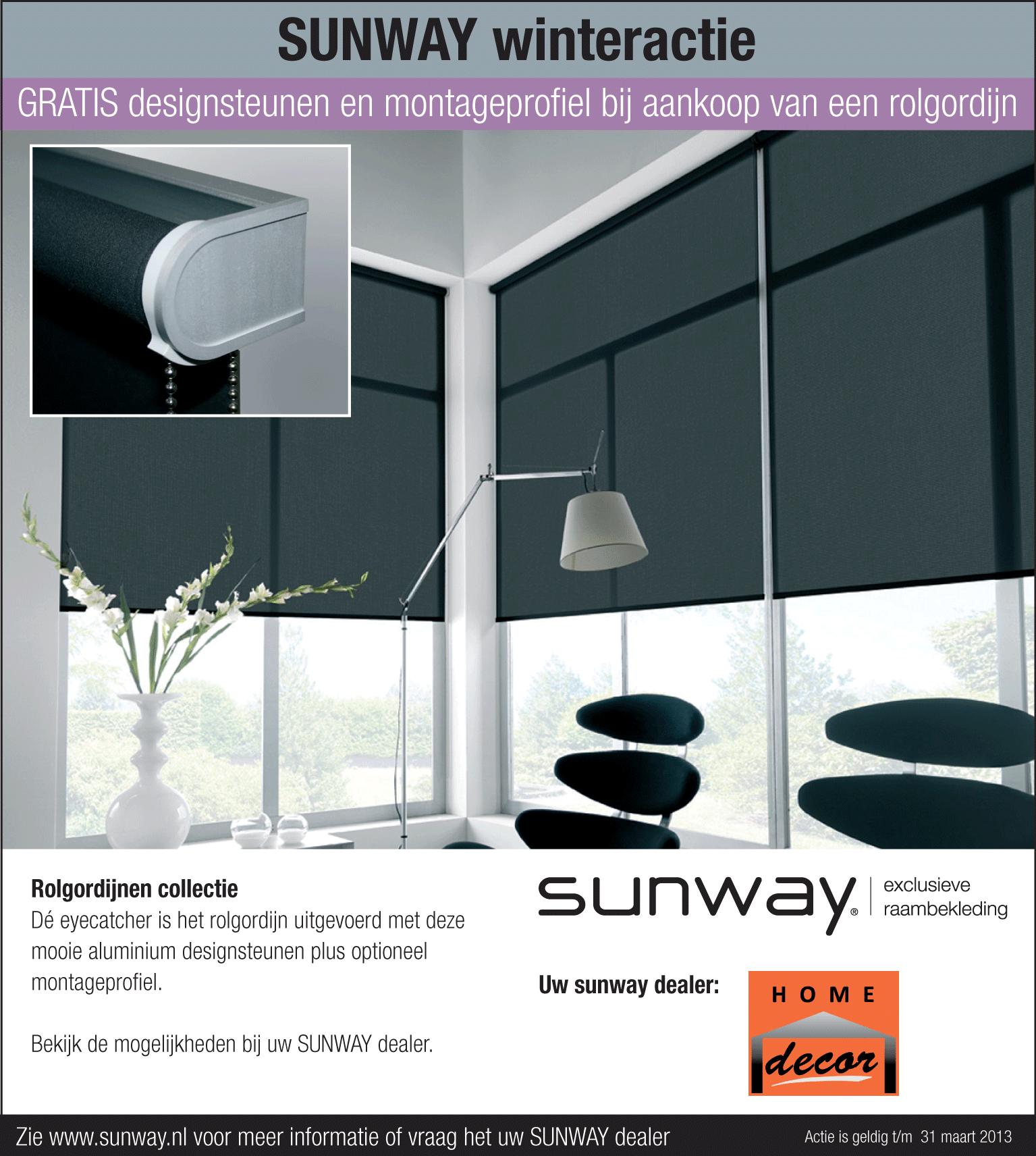 Gratis designsteunen bij aankoop van een rolgordijn van Sunway!