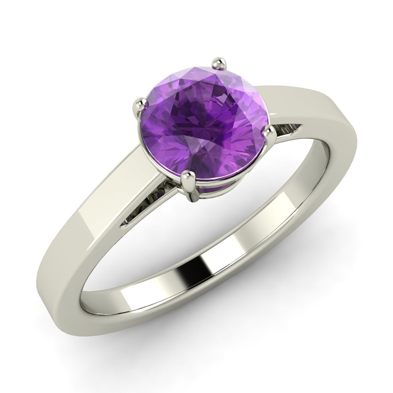 Natural Amethyst Classic Solitaire Anniversary Ring in 10K White Gold - 0.62 ct