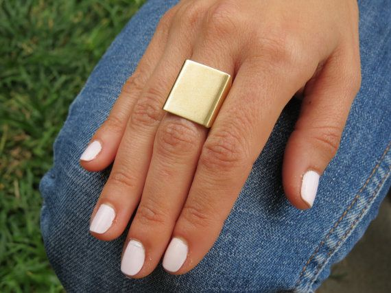 Gold Ring Wide band ring Adjustable ring Simple by HLcollection