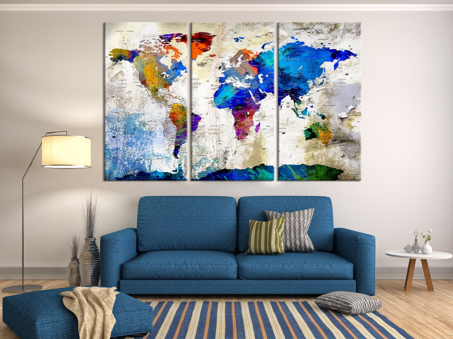 Push pin travel world map wall art canvas by extralargewallart push pin travel world map wall art canvas print push pin travel map country name on the world map art extra large watercolor world map gumiabroncs Images