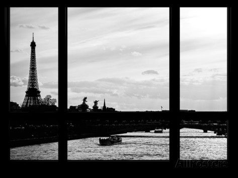 Window View - Sunset in Paris with the Eiffel Tower and the Seine River - France - Europe Photographic Print by Philippe Hugonnard at AllPosters.com