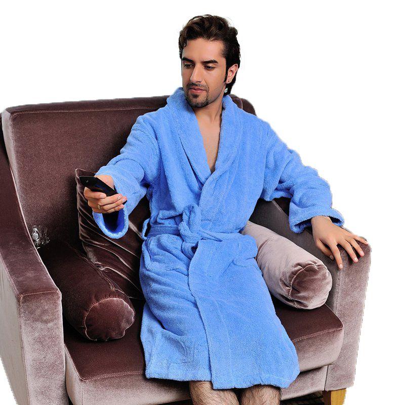 1e4b6a8831df Men bathrobe XL winter thicken long mens nightgown towel fleece high-end bathrobes  home hotel love soft autumn whtie