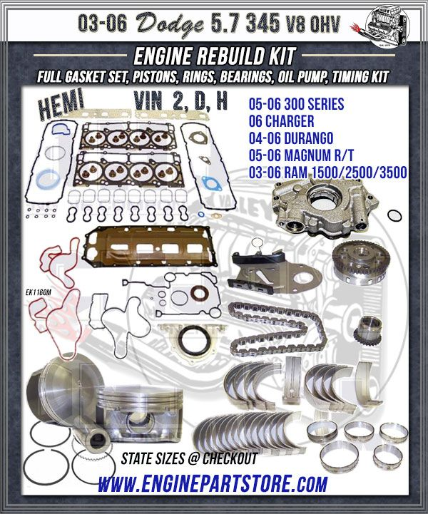 Col Hemi 2006 Chrysler 300 Specs Photos Modification: 03-06 Dodge Truck 5.7 345 V8 HEMI Engine Rebuild Kit, VIN