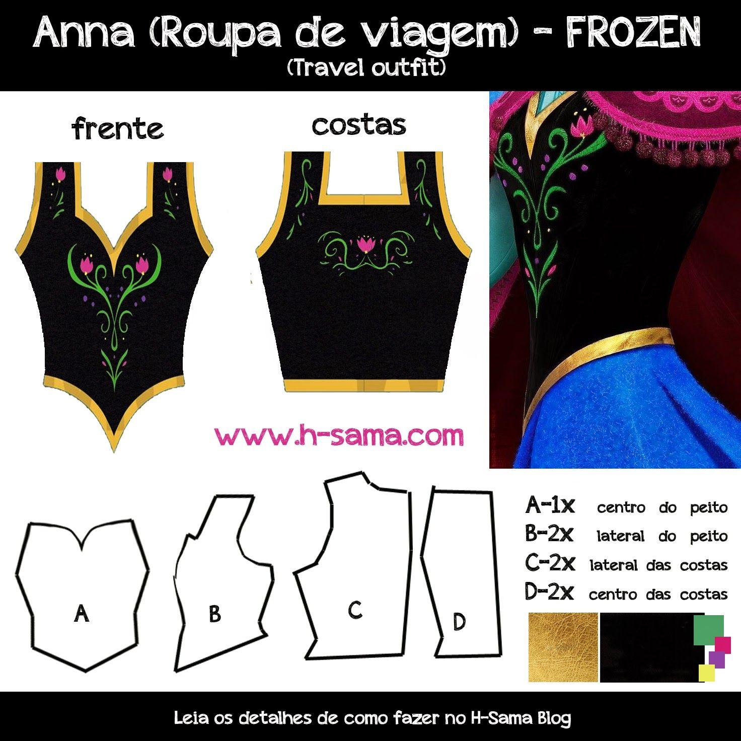 Como fazer? Cosplay Princesa Anna (Roupa de Viagem) - FROZEN ...