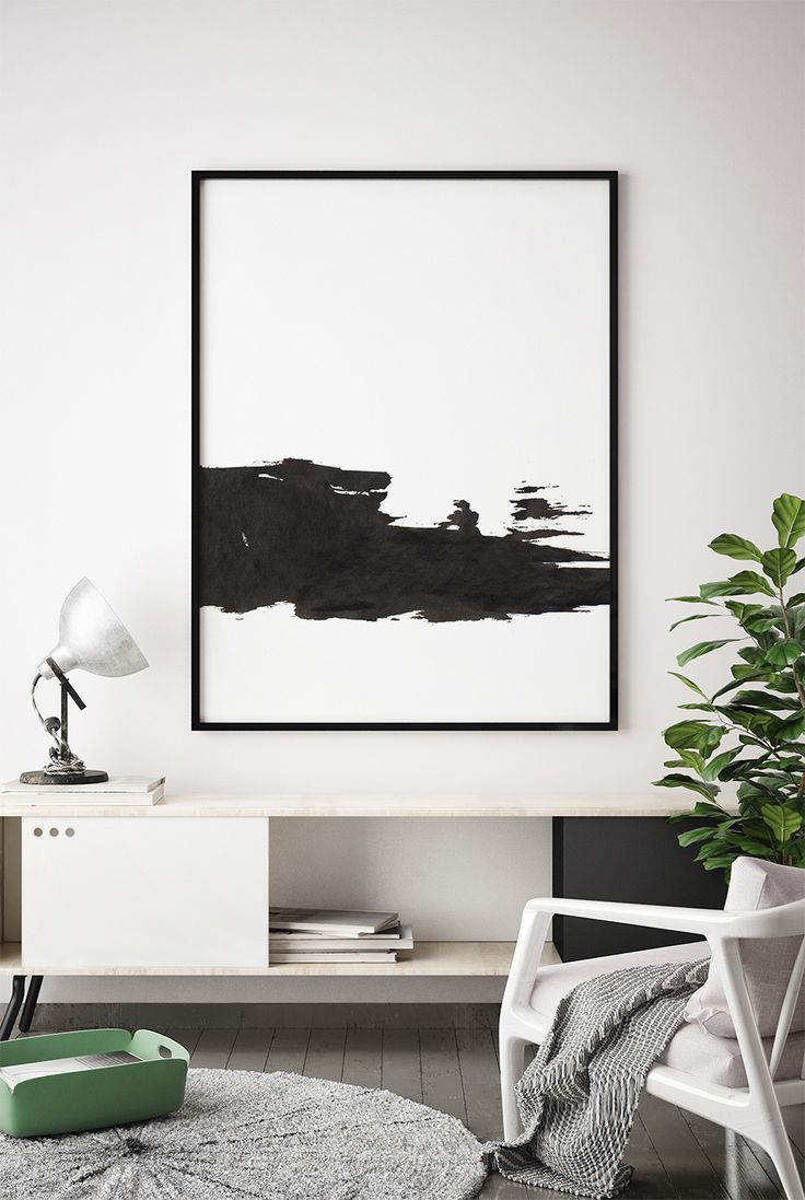 Black and white print printable minimalist black and white wall art brush strokes art minimal wall art abstract poster bedroom decor