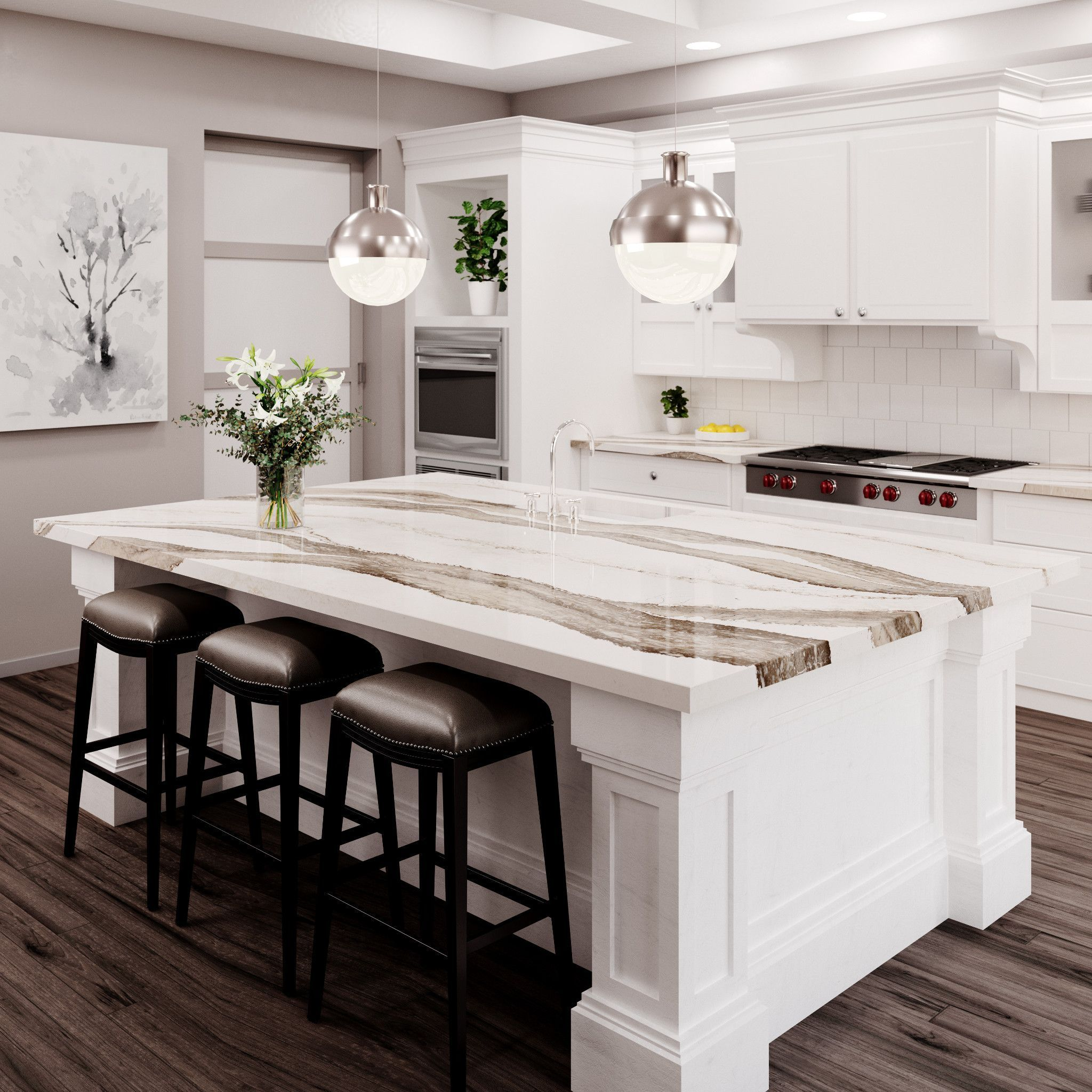 Skara Brae Cambria Quartz Kitchen With White Wood Cabinets Bar Stools And Stainles Countertop Design Replacing Kitchen Countertops Quartz Kitchen Countertops