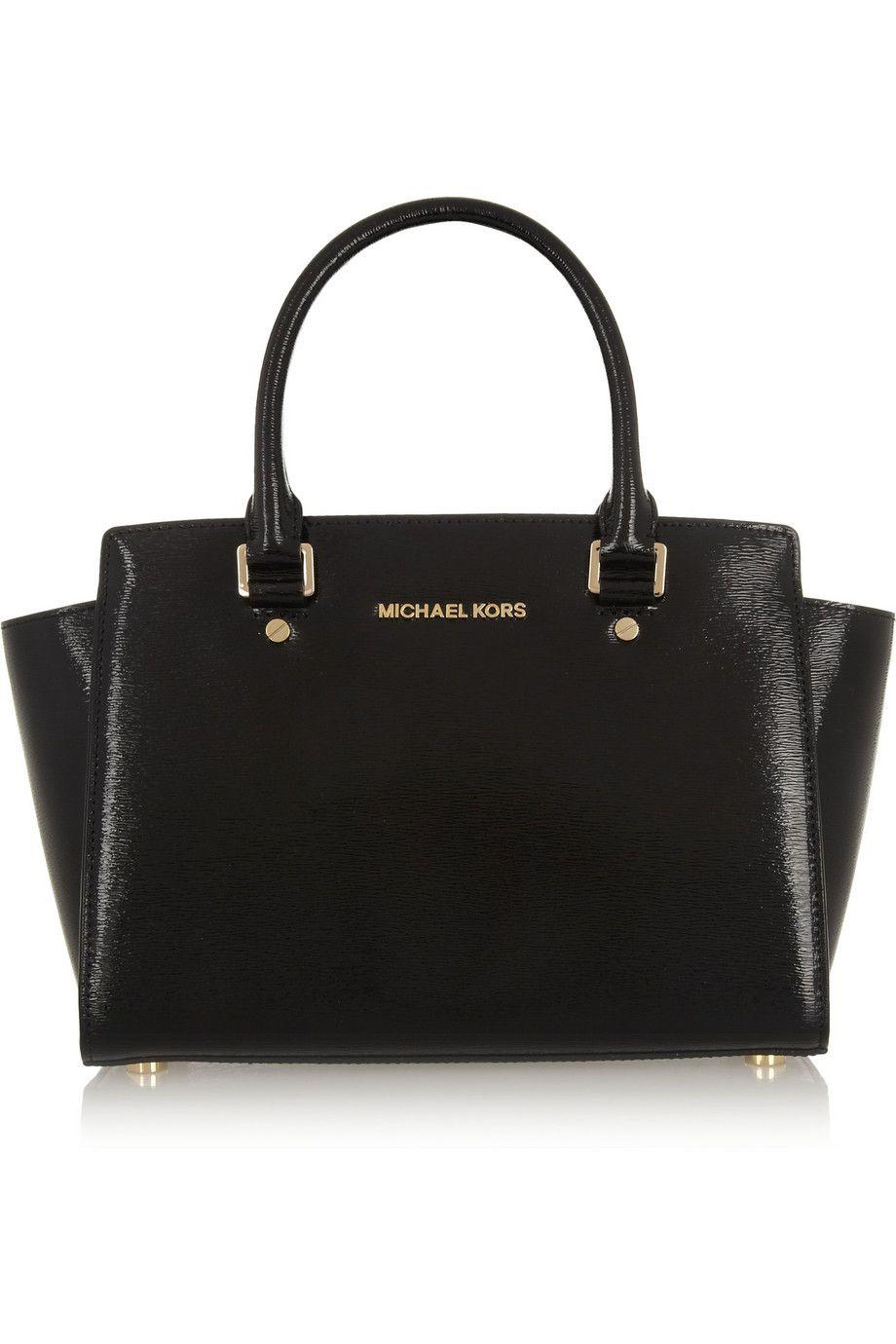 Black Selma medium textured patent-leather tote | MICHAEL Michael Kors