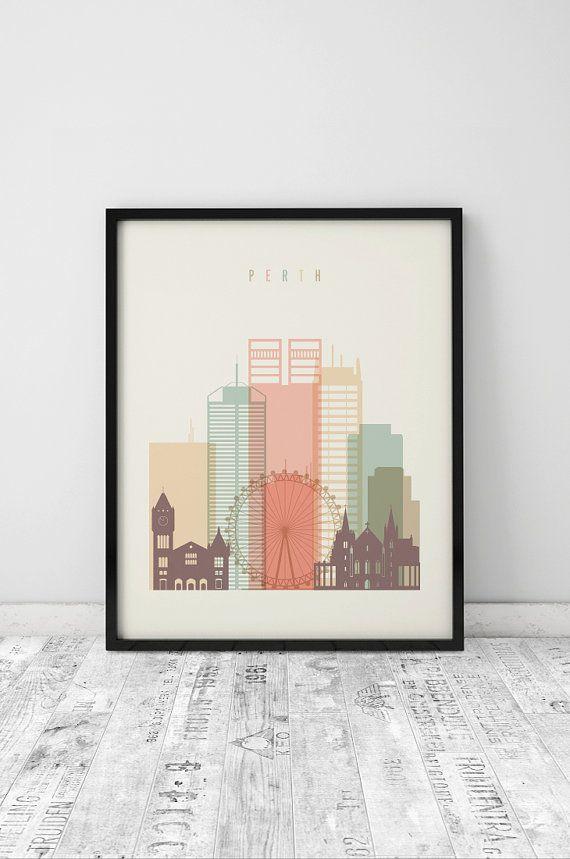 Perth skyline poster, Perth print, Wall art, Perth Australia, fine ...