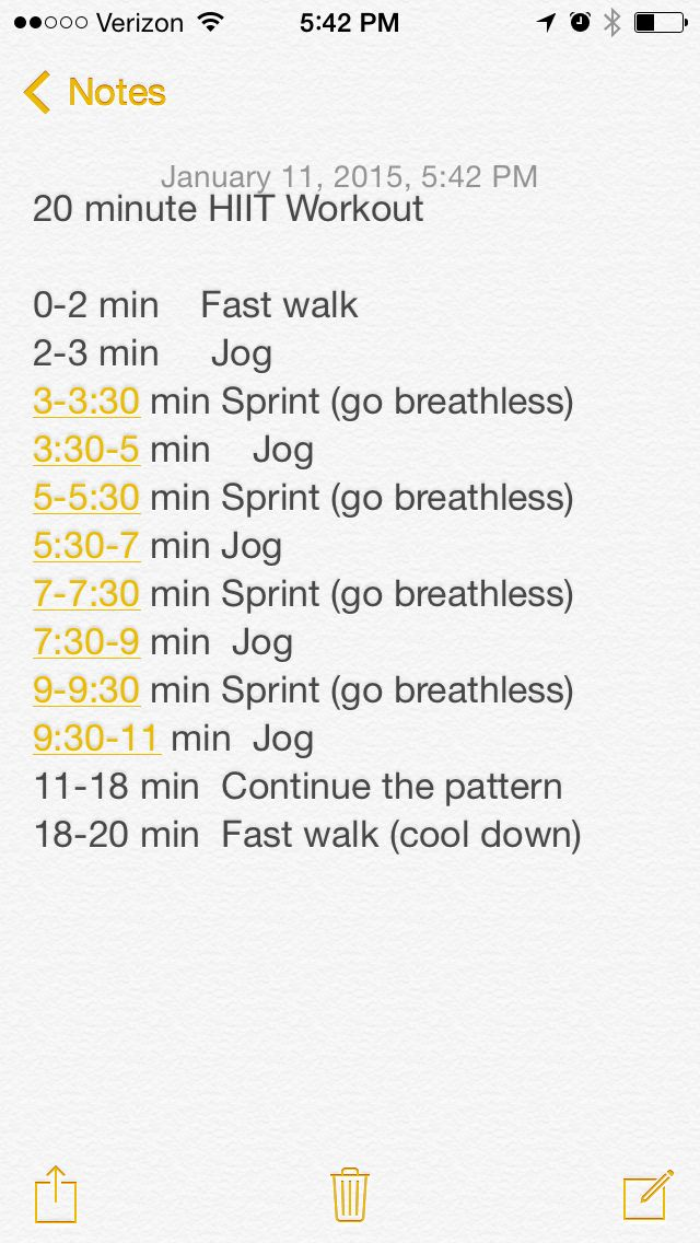 HIIT workout using the treadmill or running outside   Hiit, Hiit ...