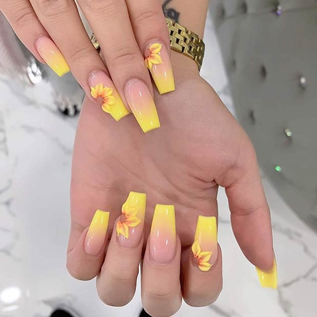 21 Cute Coffin Nails You Ll Fall In Love With Page 2 Of 2 Stayglam In 2020 Sunflower Nails Short Coffin Nails Acrylic Nails Yellow