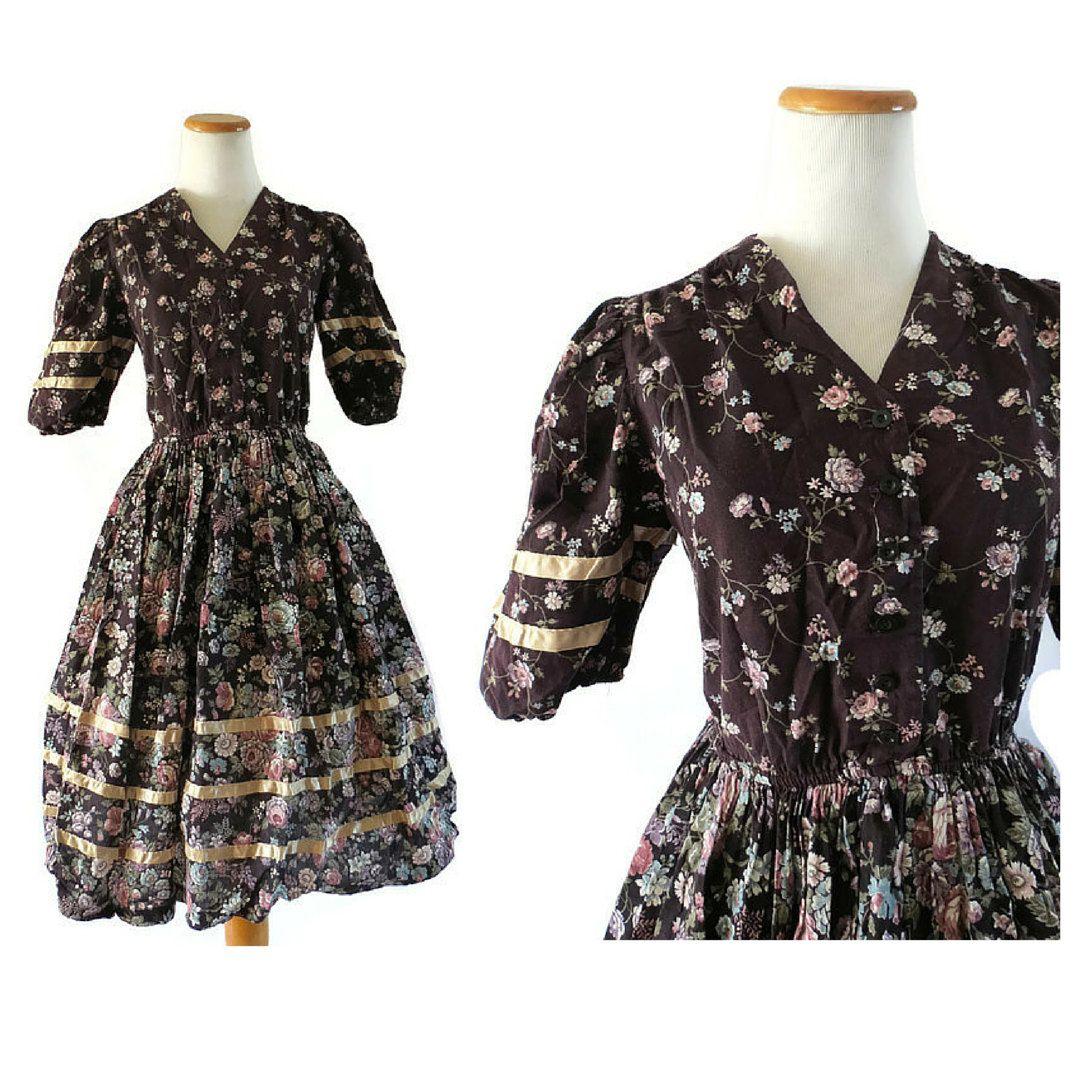 Prairie Dress Floral Day Dress 70s Floral Dress Full Skirt Dress Boho Hippie Dress 1970s Floral Dress Midi Gunne Sax Style Small Medium by GoodLuxeVintage on Etsy