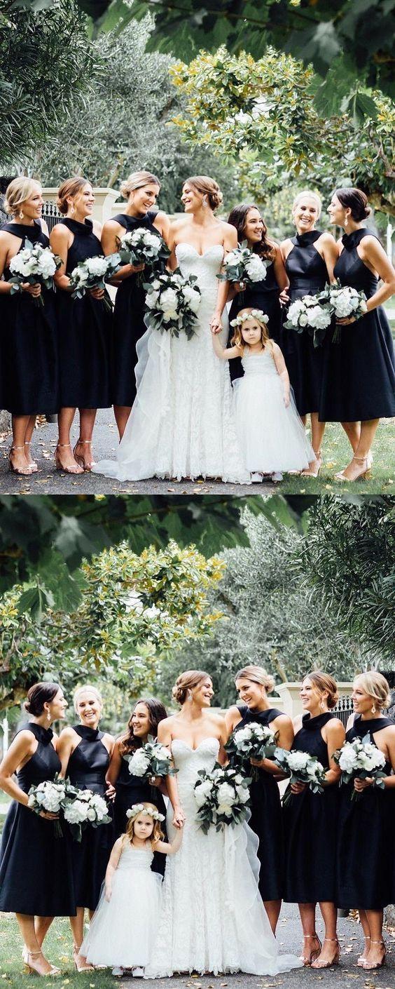 a24eafb19d Black Short Bridesmaid Dresses A-Line Bridesmaid Dresses