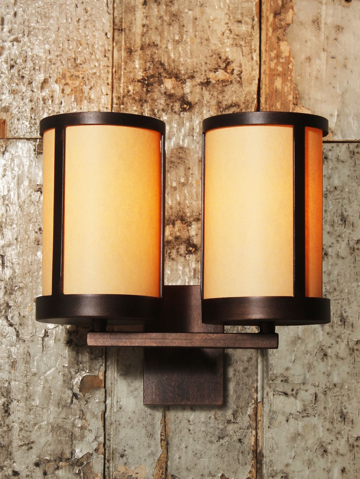 Retro art-deco wall light with two cylindrical ivory shades and ...