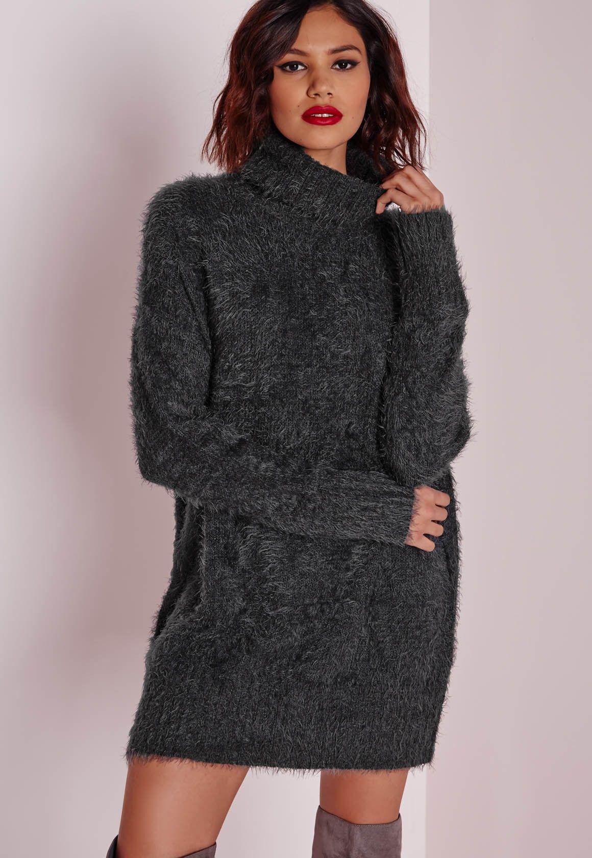 cd8298a2ad6 Missguided - Robe-pull à col roulé en laine poilue grise