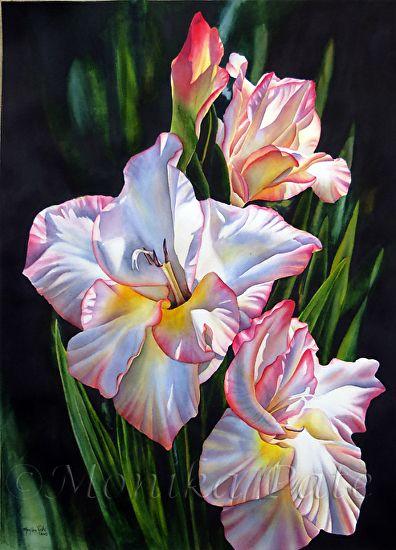 Gladiolus by Monika Pate Watercolor ~ 28 x 20