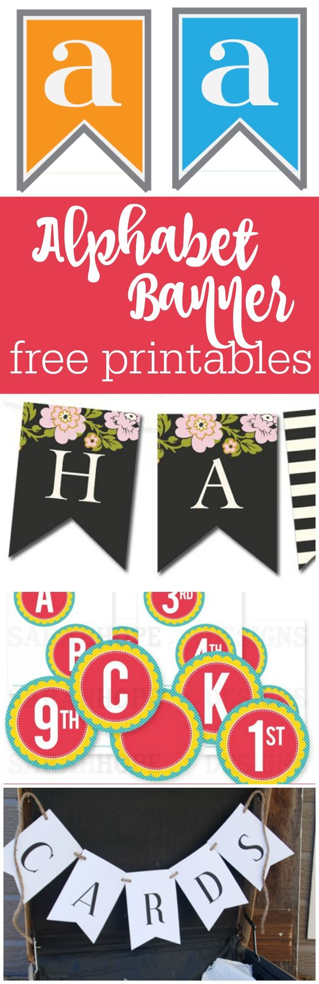 free bridal shower printable banner%0A    alphabet and number free printable banners curated by The Party Teacher    http