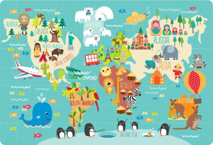Martina Hogan - Childrens World Map | for baby | Map, World, Kids ...