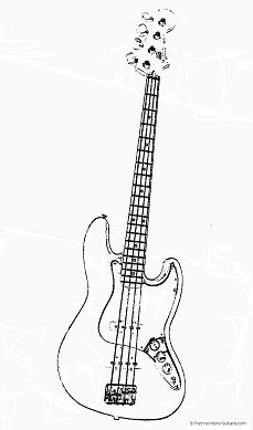 Fender Jazz Bass Guitar Outline great for labelling or