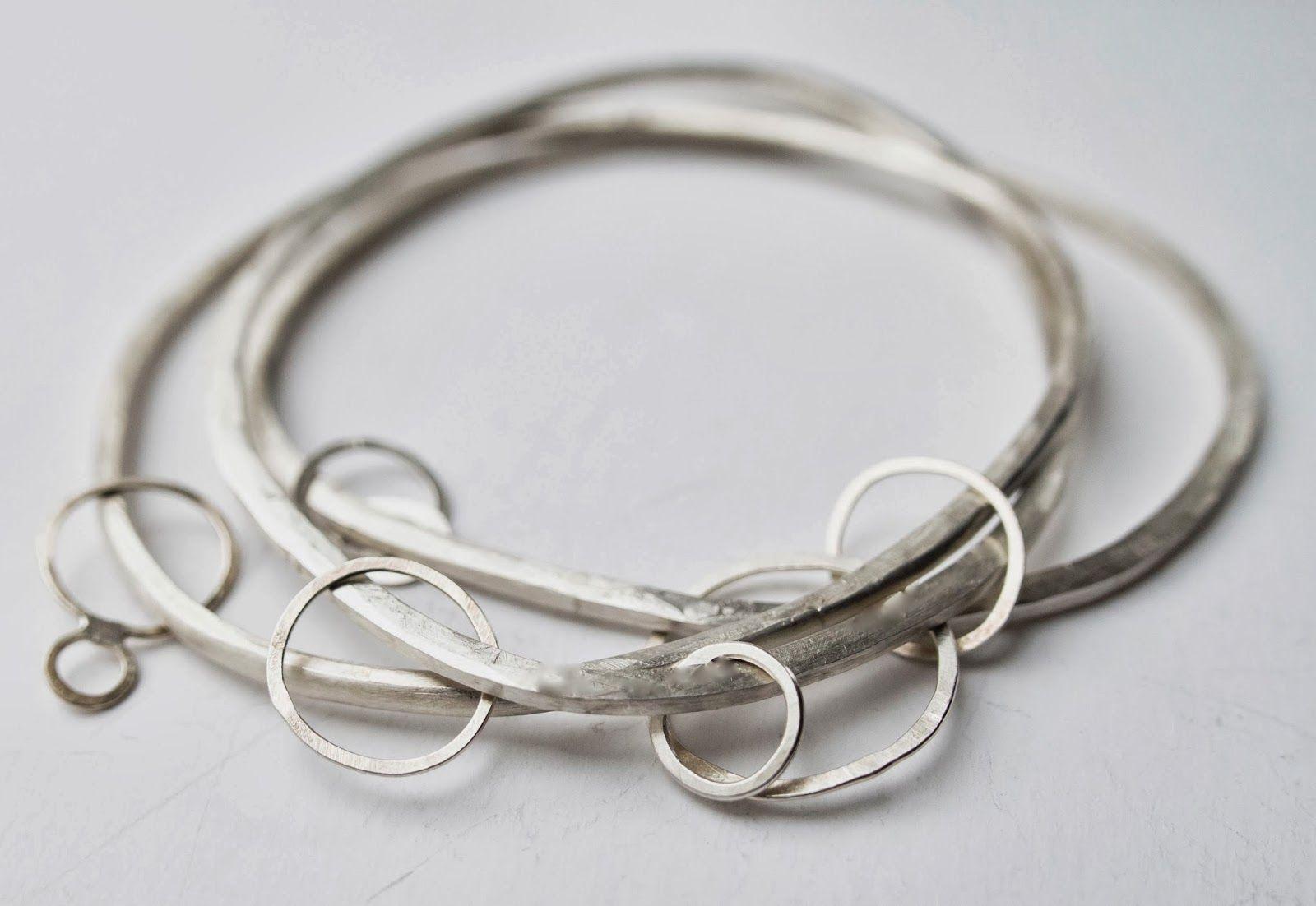Hammered or Shiny Silver Heart Bangle Handmade 2mm